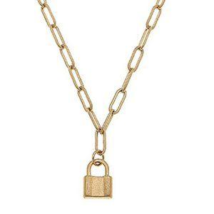 NWT Canvas Genesis Mini Padlock Charm Necklace
